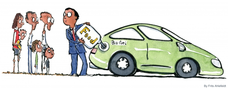 Man putting biofuel on his car while starving people watch him illustration