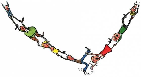 Chain of people failing
