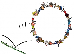 Drawing of a group of people making a wheel and rolling together
