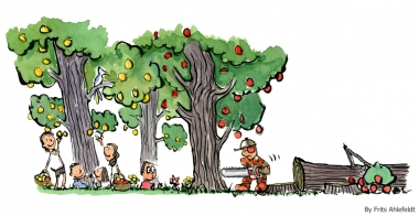 Man cutting down the trees other use for picking fruit illustration