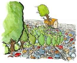Drawing of the construction of a green corridor, by a tree