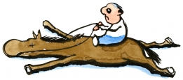 Man sitting on a dead horse illustration