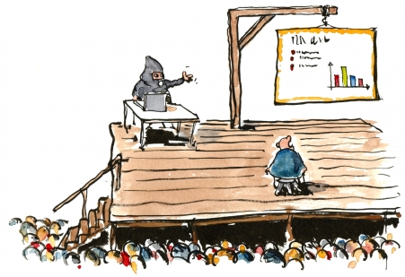 drawing of a man punished by a powerpoint presentation