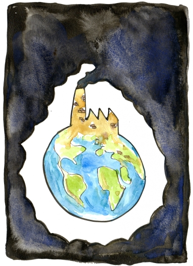 Chimney making dark smoke all over Earth illustration