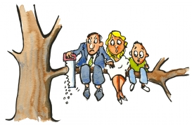 Illustration of a man saving of the branch he and his family is sitting on