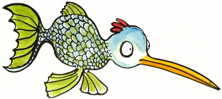 illustration of a genetically engineered creature half fish half bird