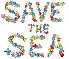 "Drawing of fish writing ""save the sea"""