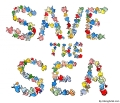 "Drawing of fish writing ""save the sea"""