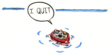 Drawing of a group of people on a raft on open sea, one of them wants to quit illustration