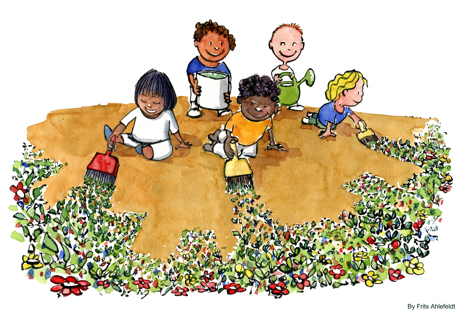 illustration of kids painting flowers on earth - Pictures Of Kids Painting