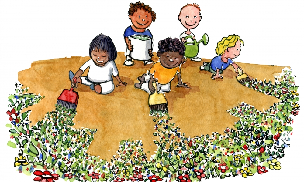 illustration of kids painting flowers on earth - Painting Picture For Kids