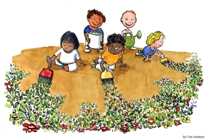 illustration of kids painting flowers on earth