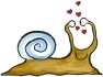 Drawing of a snail with hearts