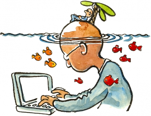 Drawing of a man in front of a laptop, with a little man on an island on his head