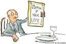 Illustration of a man sitting looking tired at the menu of life