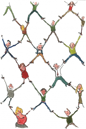 Drawing of people in a network