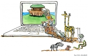 animals seeking refugee in a computer drawing
