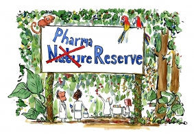 drawing of a pharma company research in the rainforest