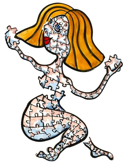 illustration: Woman made up of a puzzle