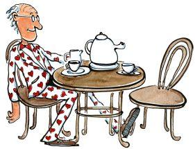 Old man, in love, sitting drinking tea