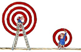 Drawing of two people painting up targets