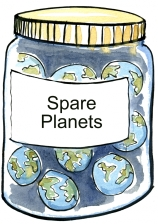 illustration of jar with planets