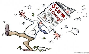illustration of a man in wind, being hit a newspaper with the text Storm is coming