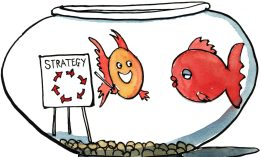 """Drawing of two fishes in a bowl, one of them presenting the new """"swim around"""" strategy"""