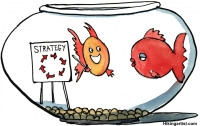 "Drawing of two fishes in a bowl, one of them presenting the new ""swim around"" strategy"
