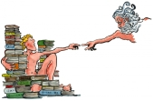 Drawing of the divine and a man sitting along a lot of books - touching fingers - inspired by Michelangelo painting