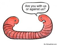 illustration of two headed worm in conflict with itself