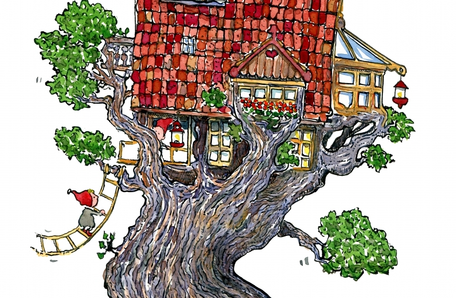 Drawing of a treehouse walking