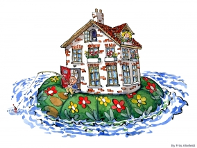 Drawing of a house at sea