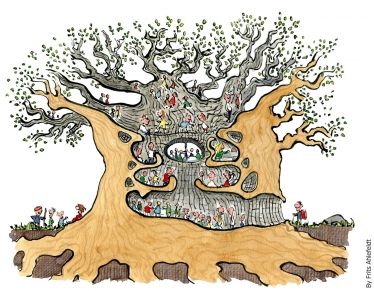 Big tree with people inside drawing