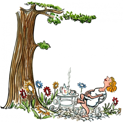 Drawing of a woman feeling good under a tree
