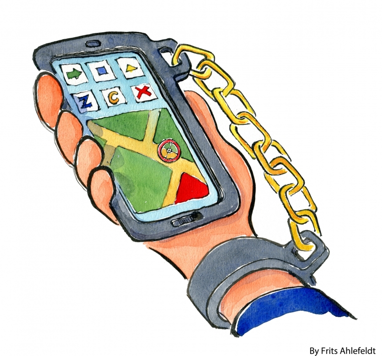 Drawing of a hand chained to a cell phone