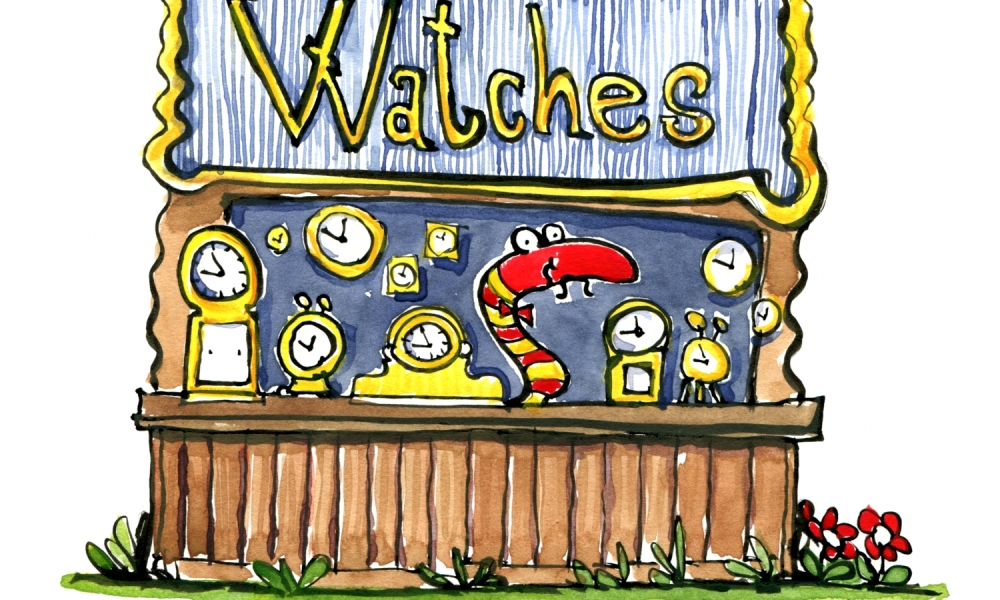 Drawing of a snake selling watches