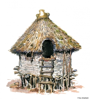 Watercolor of an old hut