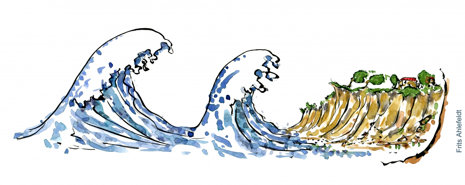 how to draw a crashing wave