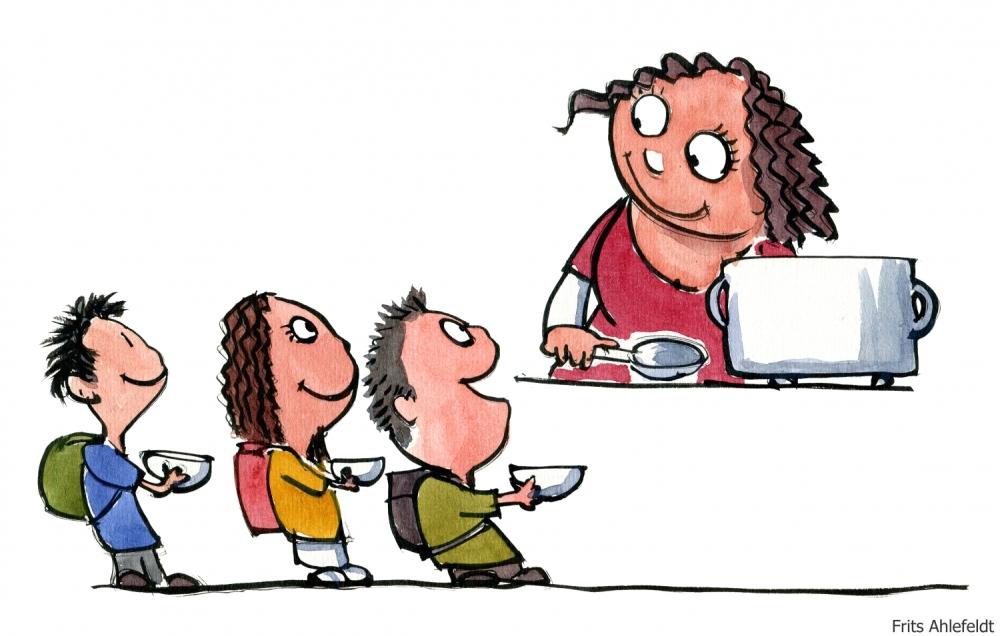Drawing of a woman feeding children