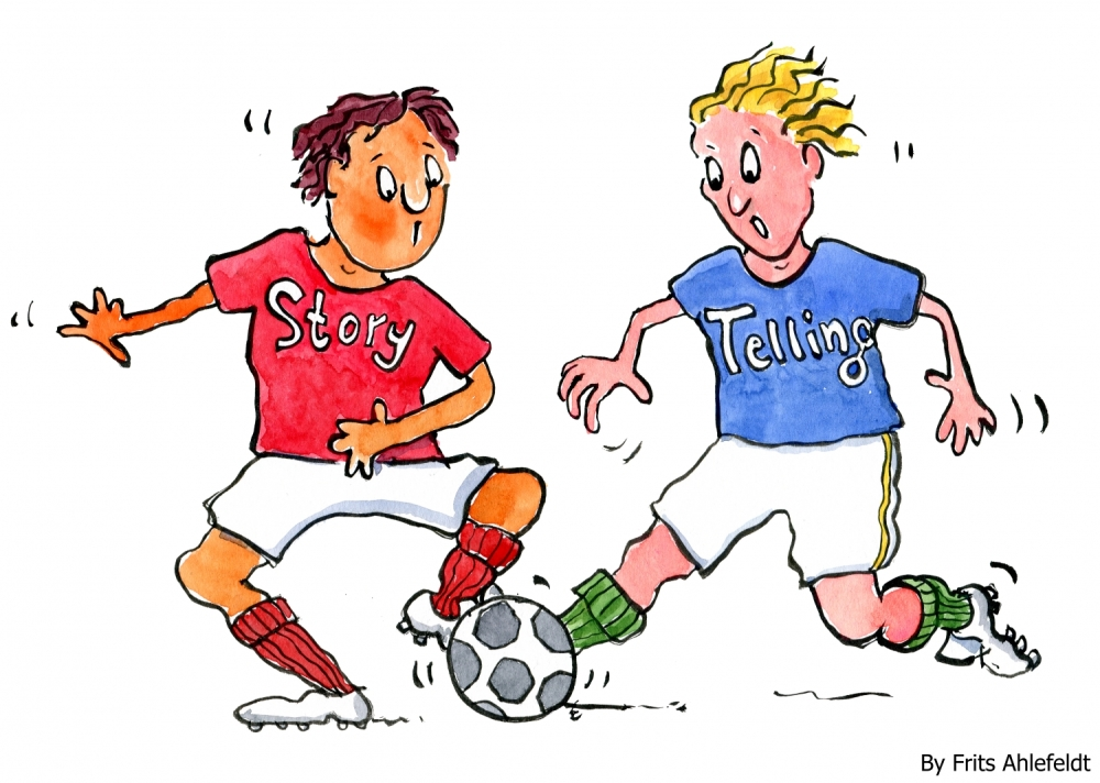 Drawing of two players, one called story the other telling, running with a ball