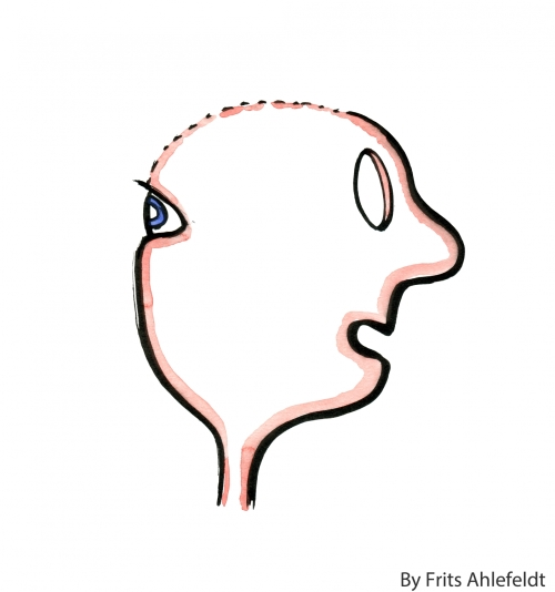 Drawing of a head with eyes in the back and none in the front