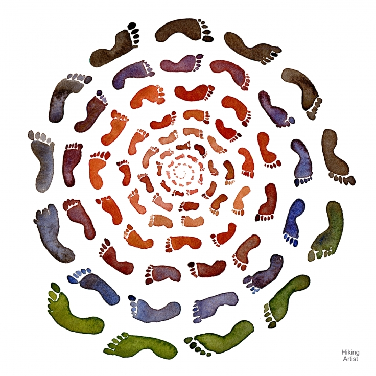 Watercolor of footsteps in spiral