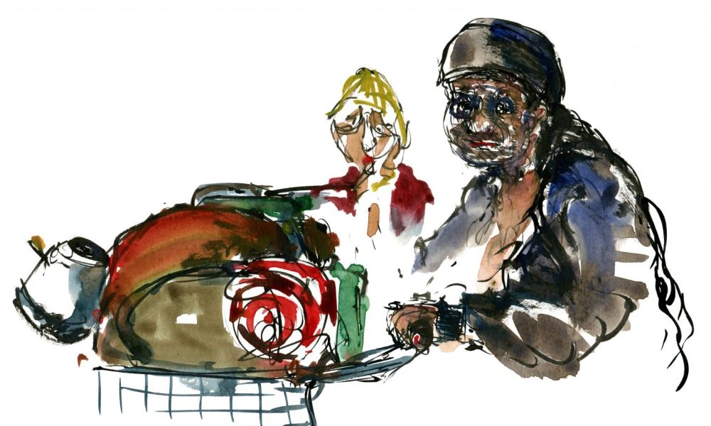 Watercolor of a poor woman with a shopping cart