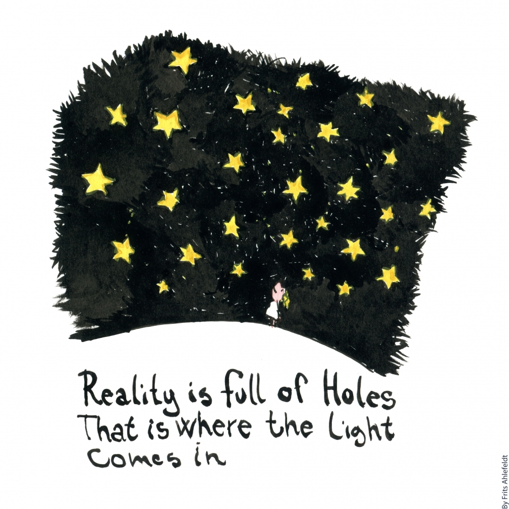 Drawing about a girl looking up at the stars, with the text, reality is full of holes that is where the light comes in