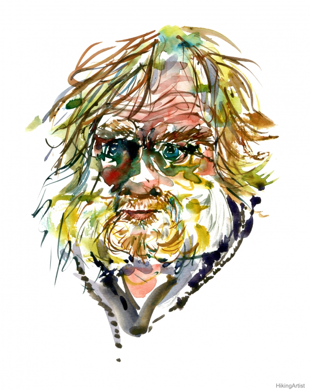 Watercolor portrait of man, yellow hair, beard