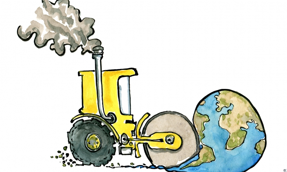 Drawing of a steamroller making the Earth flat