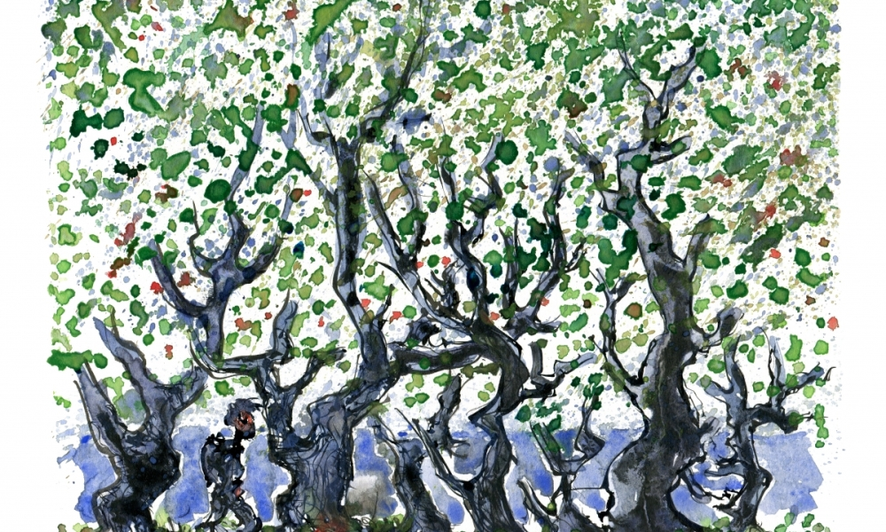 illustration of a man hiking under trees with a lot of leaves