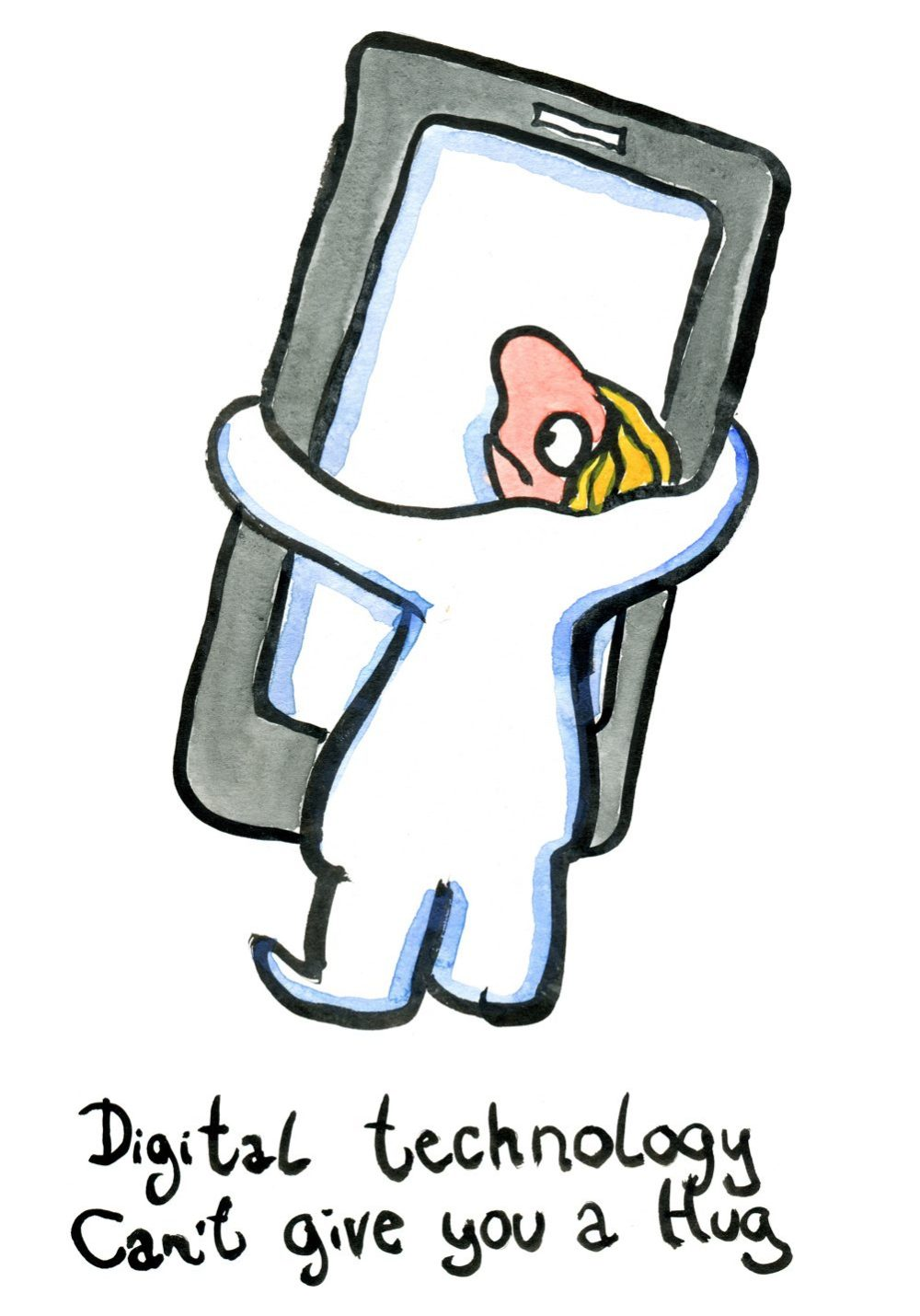 Woman hugging a mobile phone