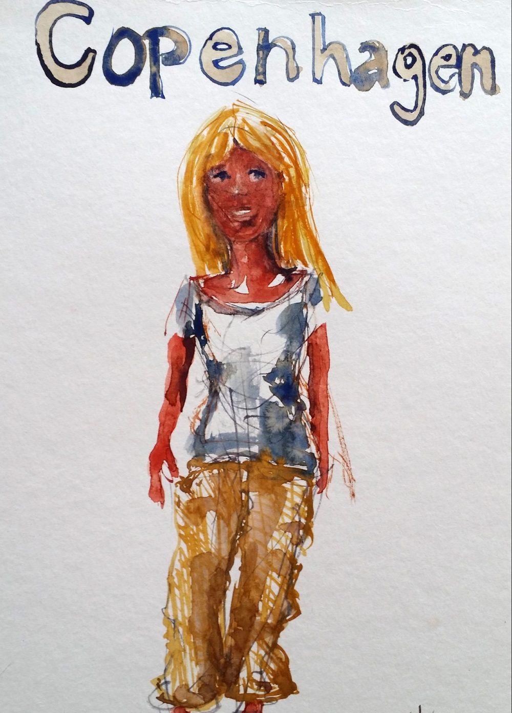Sketch of woman in Copenhagen